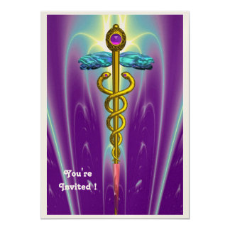 CADUCEUS , blue ,pink violet purple amethyst gold Personalized Invitations