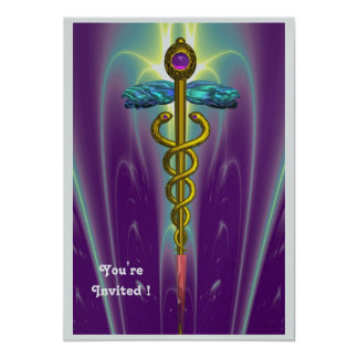 CADUCEUS ,blue ,pink violet purple amethyst silver Card