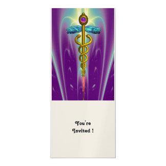 CADUCEUS blue violet purple amethyst champagne Card