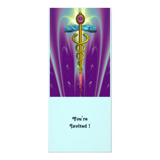 CADUCEUS blue violet purple amethyst white Card