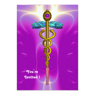 CADUCEUS  bright blue ,pink violet amethyst Card