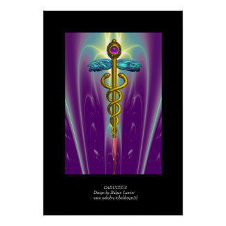 CADUCEUS colossal size vibrant gold ametist Poster