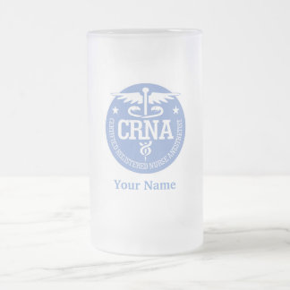 Caduceus CRNA gift ideas Frosted Glass Beer Mug