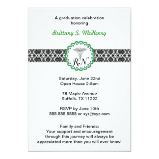 "Caduceus Damask Green Invitation Nursing RN 5"" X 7"" Invitation Card"