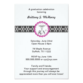 Caduceus Damask hot pink Invitation Nursing RN