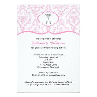 "Caduceus Damask pink Nursing school graduation RN 5"" X 7"" Invitation Card"