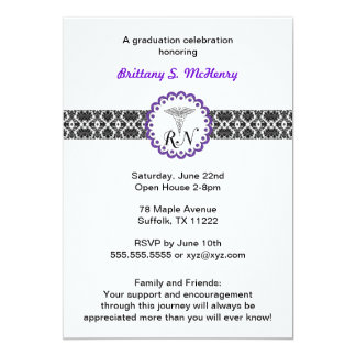 "Caduceus Damask Purple Invitation Nursing RN 5"" X 7"" Invitation Card"