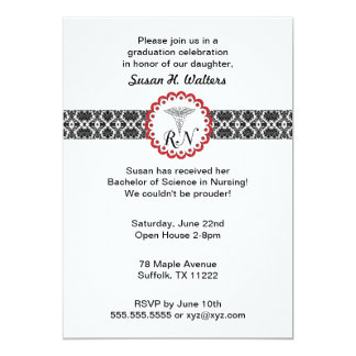 "Caduceus Damask Red Invitation Nursing RN 5"" X 7"" Invitation Card"