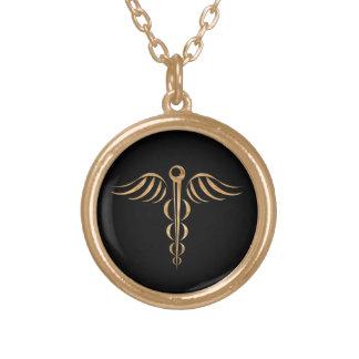 Caduceus Gold Plated Necklace