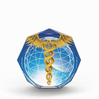 Caduceus Gold with Globe Acrylic Award