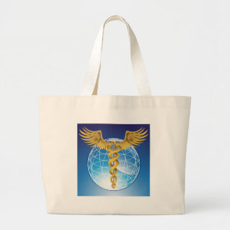 Caduceus Gold with Globe Large Tote Bag