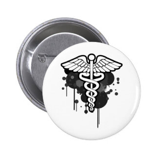 Caduceus grunge too button