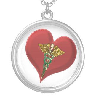 Caduceus Heart Necklace