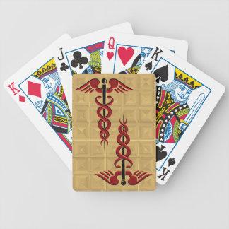 Caduceus in Red Poker Deck