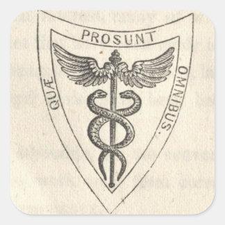 Caduceus in Shield Square Sticker
