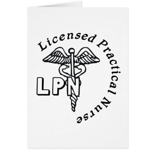 CADUCEUS LPN LOGO LICENSED PRACTICAL NURSE GREETING CARD