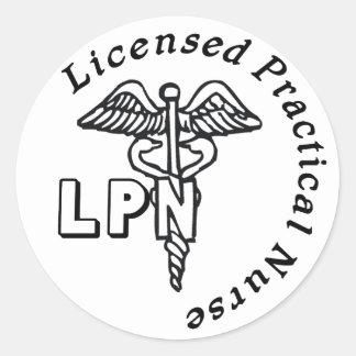 CADUCEUS LPN LOGO LICENSED PRACTICAL NURSE CLASSIC ROUND STICKER