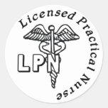 CADUCEUS LPN LOGO LICENSED PRACTICAL NURSE ROUND STICKERS