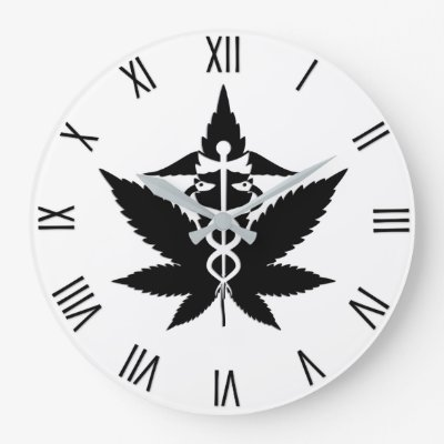 Caduceus Medical Marijuana w Black Numerals Large Clock