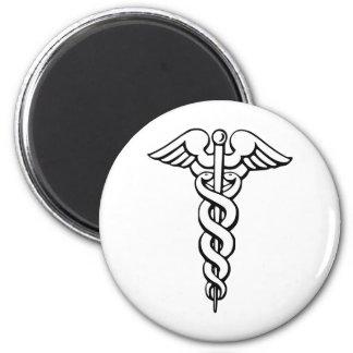 Caduceus Medical Symbol 2 Inch Round Magnet