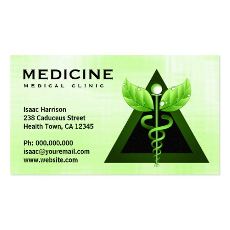 Green Caduceus Triangle Alternative Medicine Symbol Business Cards