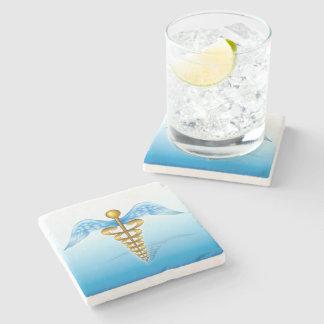 Caduceus Medical Symbol Stone Beverage Coaster