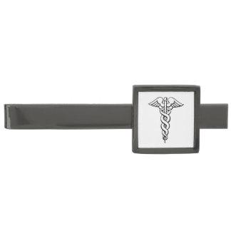 Caduceus Medical Symbol Gunmetal Finish Tie Bar