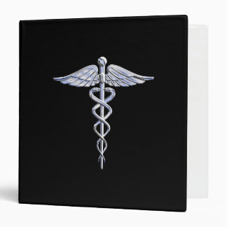 Caduceus Medical Symbol on Black Binder