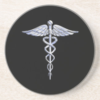 Caduceus Medical Symbol on Black Coaster