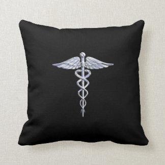 Caduceus Medical Symbol on Black Throw Pillow