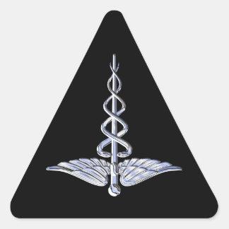 Caduceus Medical Symbol on Black Triangle Sticker