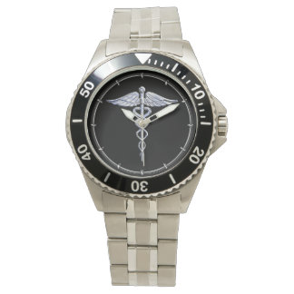 Caduceus Medical Symbol on Black Wristwatches