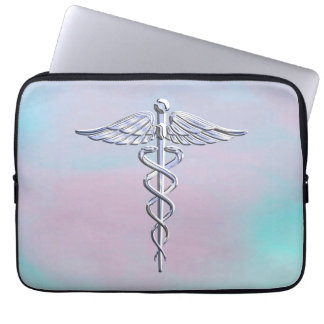Caduceus Medical Symbol on Mother Pearl Decor Laptop Computer Sleeve