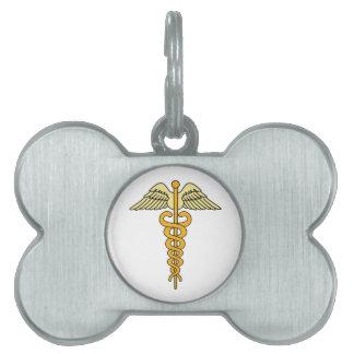 CADUCEUS MEDICAL SYMBOL PET NAME TAGS