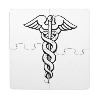 Caduceus Medical Symbol Puzzle Coaster