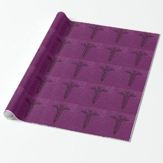 Caduceus Medical Symbol Purple RN Nurse Graduation Wrapping Paper