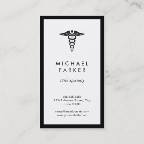Caduceus Medical Symbol _ Retro Black and White Business Card