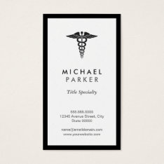 Caduceus Medical Symbol - Retro Black And White Business Card at Zazzle