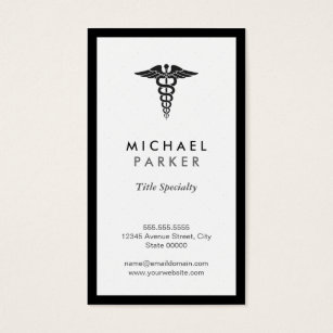 Healthcare business cards templates zazzle caduceus medical symbol retro black and white business card colourmoves