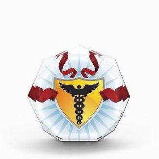 Caduceus Medical Symbol - Shield with Ribbon Awards