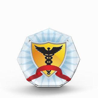 Caduceus Medical Symbol - Shield with Ribbon Acrylic Award