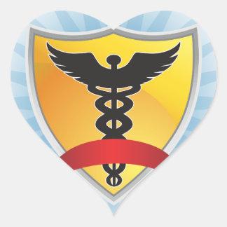 Caduceus Medical Symbol - Shield with Ribbon Heart Sticker