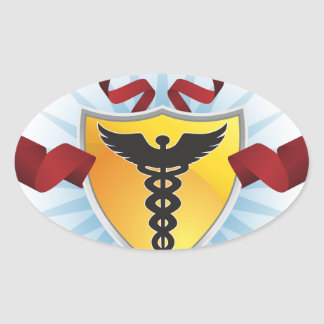 Caduceus Medical Symbol - Shield with Ribbon Oval Sticker
