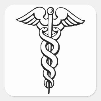 Caduceus Medical Symbol Square Sticker