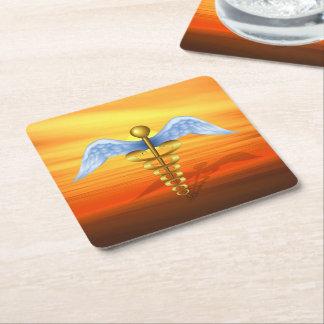 Caduceus Medical Symbol Square Paper Coaster