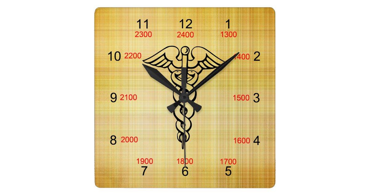 caduceus military time wall clock. Black Bedroom Furniture Sets. Home Design Ideas
