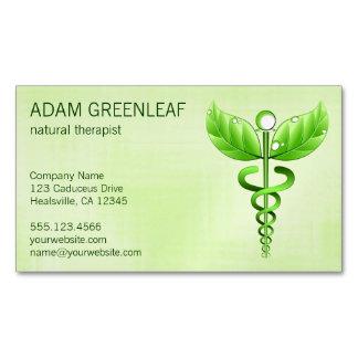 Caduceus Natural Therapist Business Card Magnet