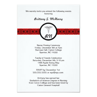 "Caduceus Nurse Graduation Invite Black & Red RN 5"" X 7"" Invitation Card"