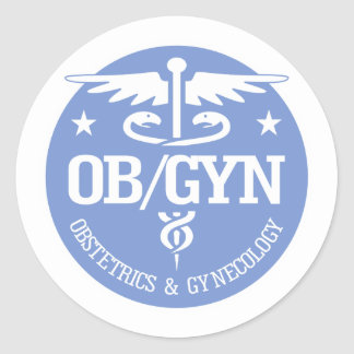 Caduceus OBGYN gift ideas Round Stickers