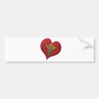 Caduceus On A Heart Bumper Stickers
